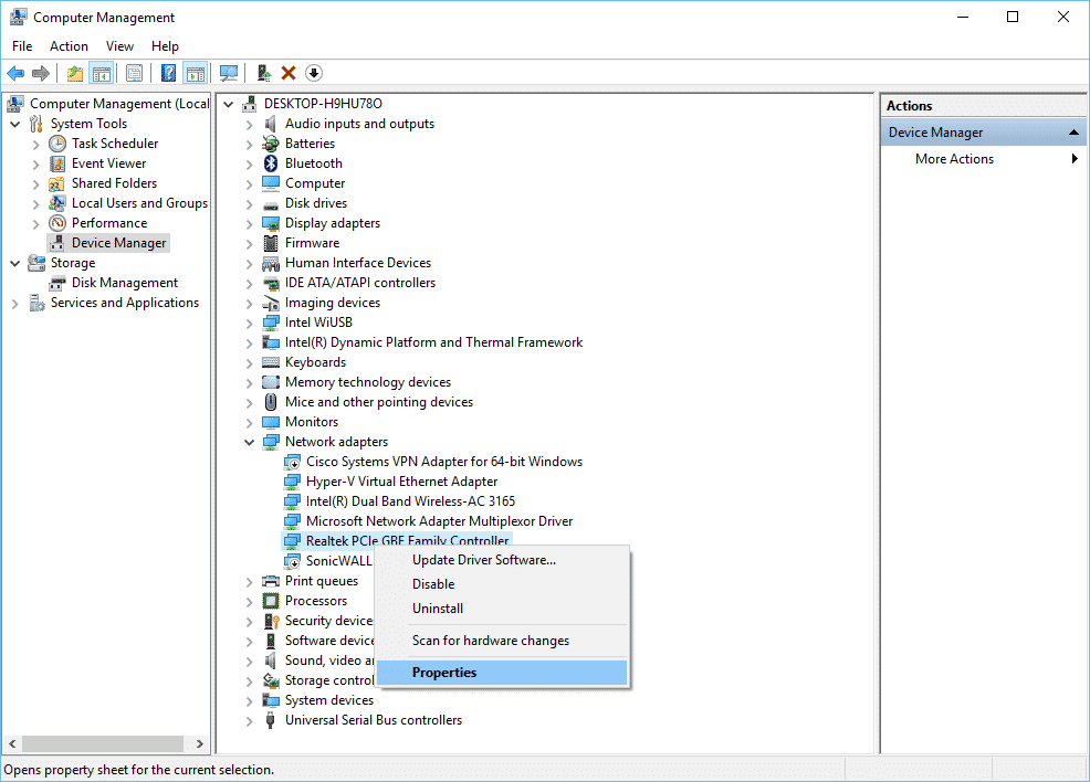 FIX: Realtek PCIe GBE Family Controller is disconnected from