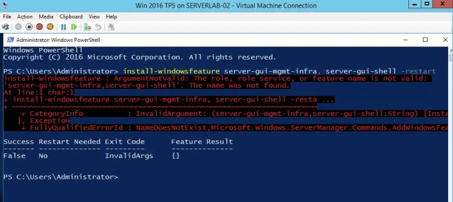 Install-WindowsFeature : ArgumentNotValid: The role, role service, or feature name is not valid: 'Server-Gui-Mgmt-Infra'. The name was not found.