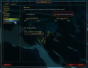 WOW Mouse sensitivity World of Warcraft