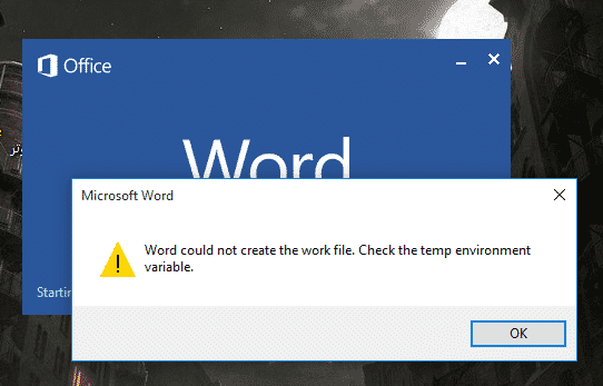 FIX: Word could not create the work file by Bas Wijdenes