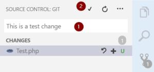 Commit changes Visual Studio Code