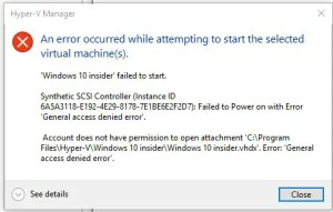 An error occurred while attempting to start the selected Virtual Machine(s).