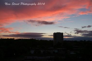 Dark red clouds