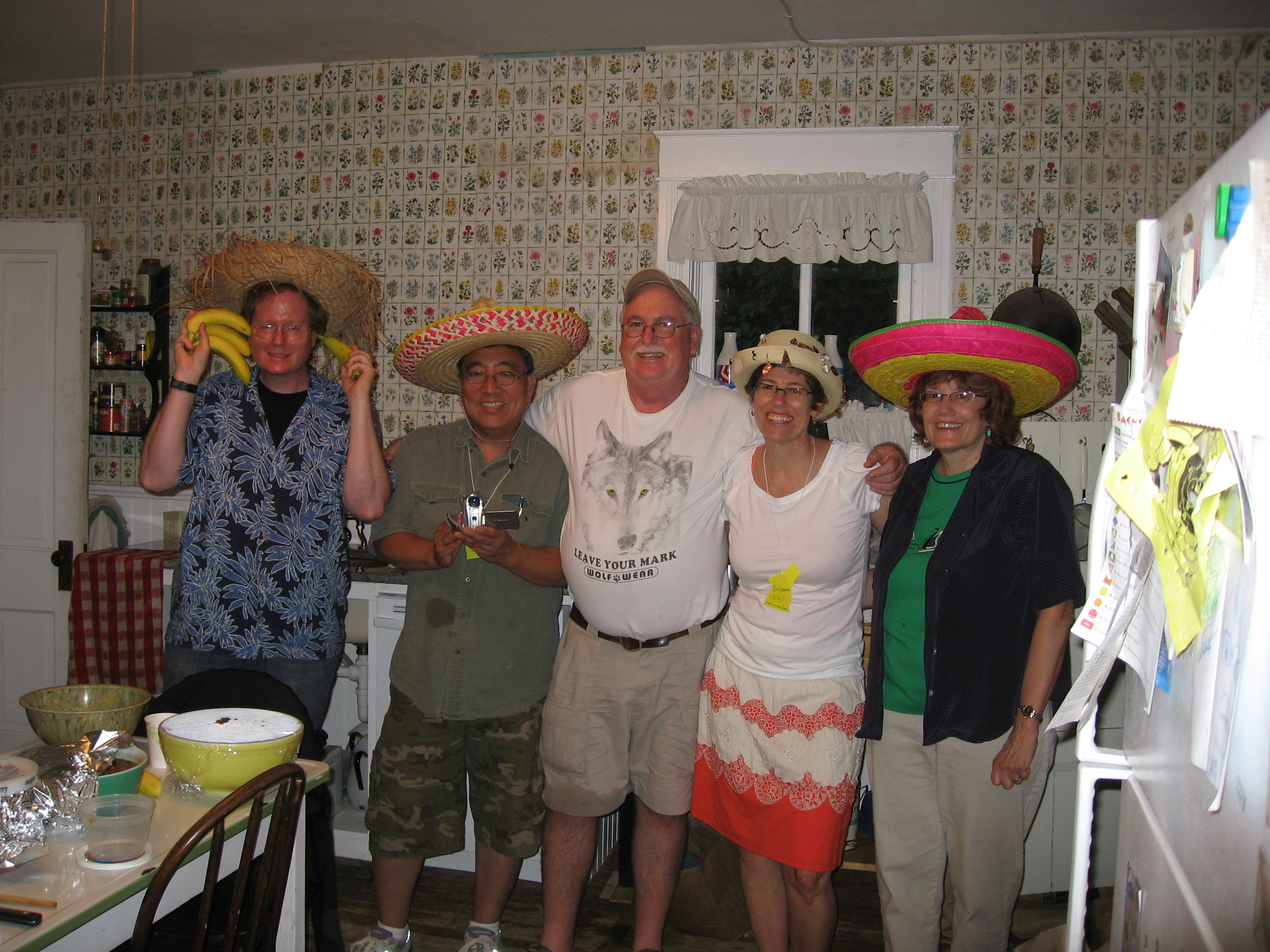 Five Amigos making dinner at Wolf reunion 7/22/09