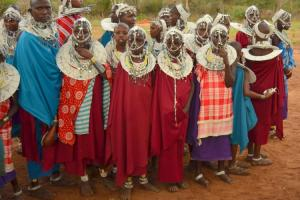 Maasai young women in a cultural dress