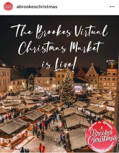Image of Christmas market with 'A Brookes Christmas' logo