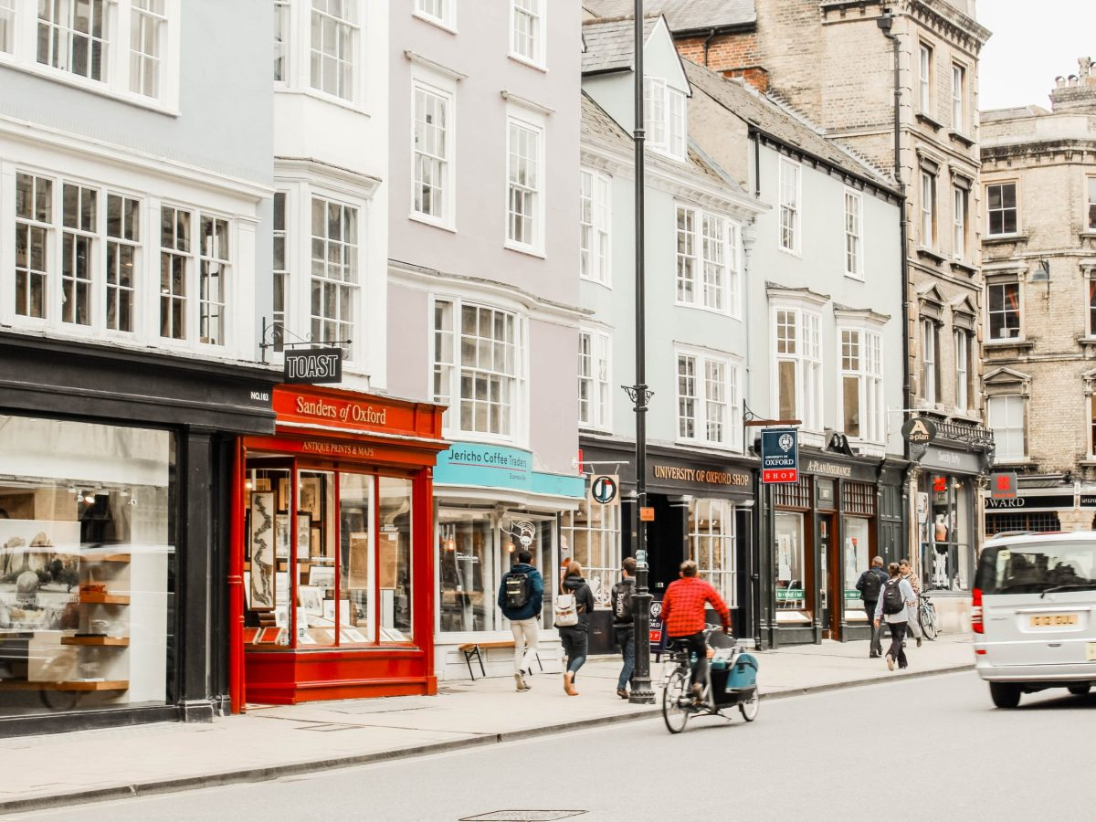 Image of Oxford high street including bike and car