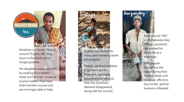 This image shows pictures and profiles of three different people whose businesses and incomes have been seriously affected by the pandemic.