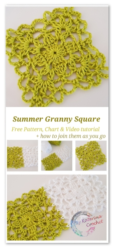 Summer granny square. Free Pattern, Chart & Video tutorial. Plus how to join the squares as you go