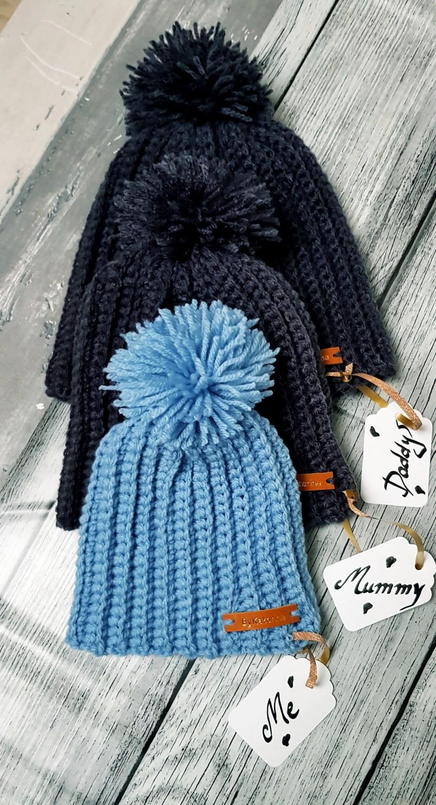 Daddy, Mummy & me Crocheted hats