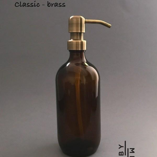 500ml amber glass bottle with brass metal pump