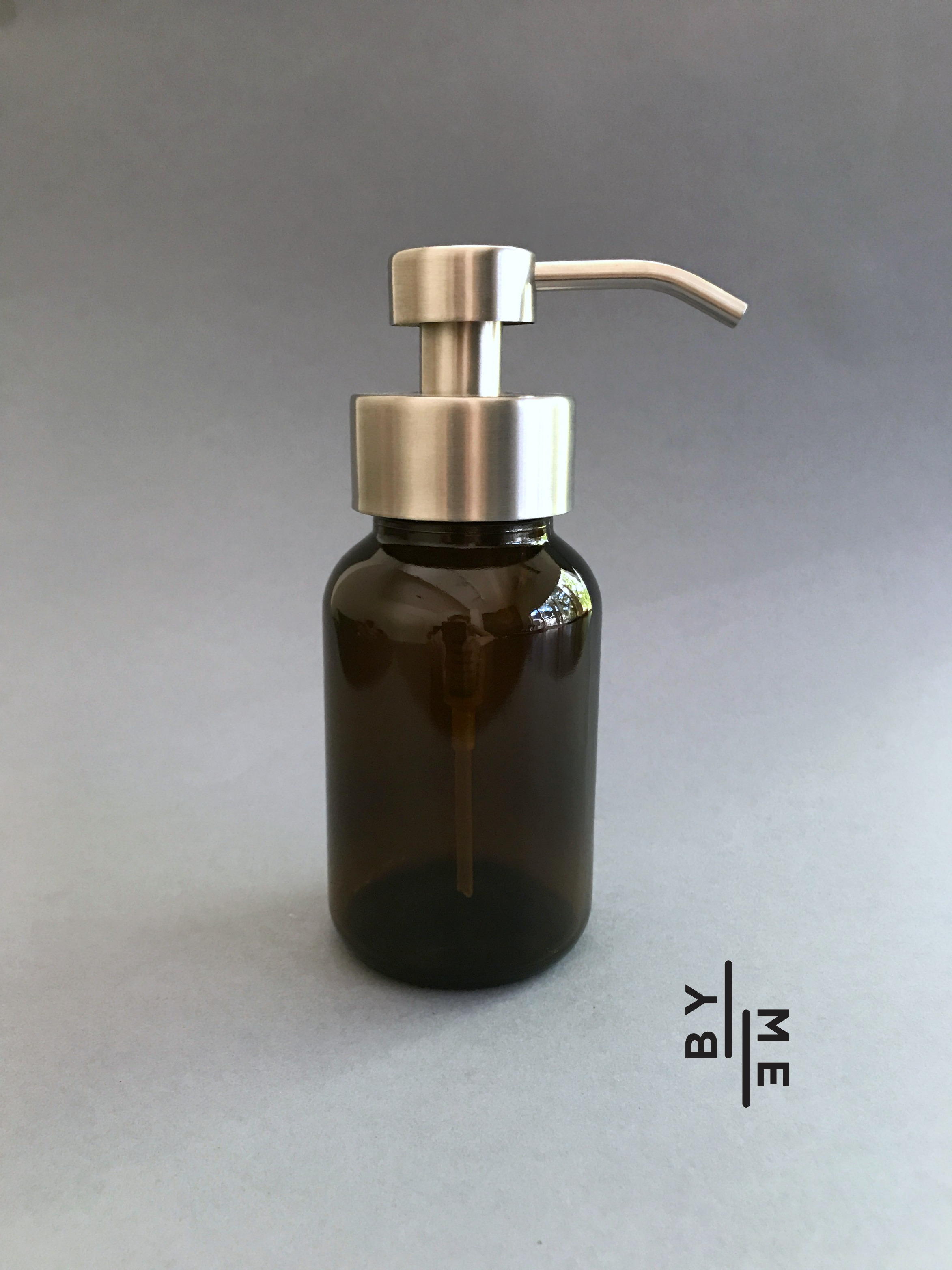 ByMe amber glass foaming soap pump