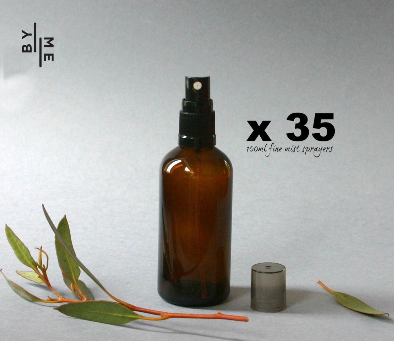 100ml amber glass spray bottles - bulk pack of 35