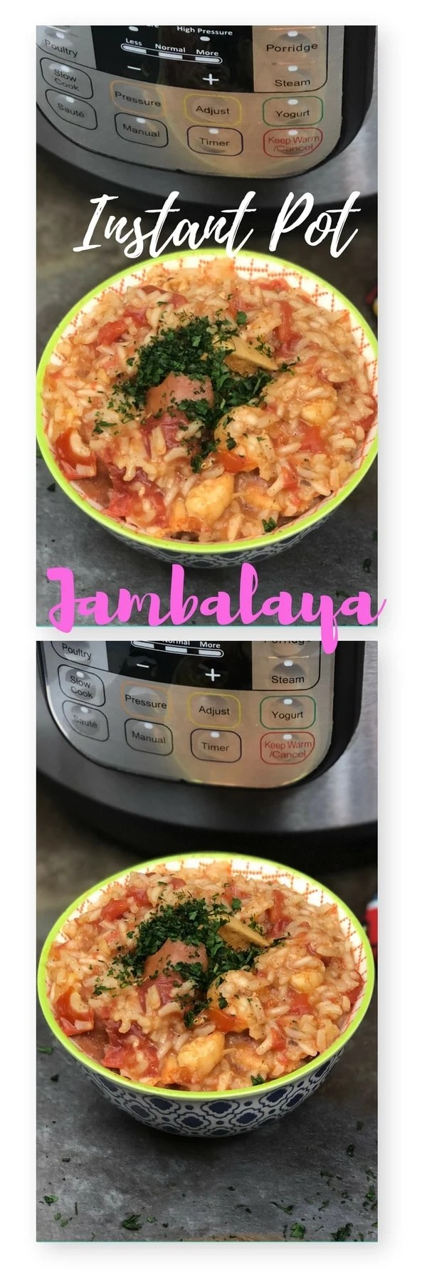Change things up and add some spice to your next meal! This Instant Pot Jambalaya is a mix of andouille sausage, fresh shrimp, and chicken with a mix of rice and Cajun seasonings that will make your mouth water. A one-pot meal that takes no time, and leaves your family reaching for seconds, and maybe even thirds. This Instant Pot Jambalaya recipe is not only a cinch to make, but so filling. If you find you have leftovers it reheats great so you can take for lunch the next day.