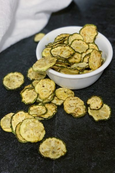 These zucchini chips are only 3 net grams of carbs per serving,  a shelf-stable healthy chip and are also a Power Fryer Oven recipe on the dehydrator function.#zucchini #zucchinirecipes #lowcarb #keto #healthy #airfryer
