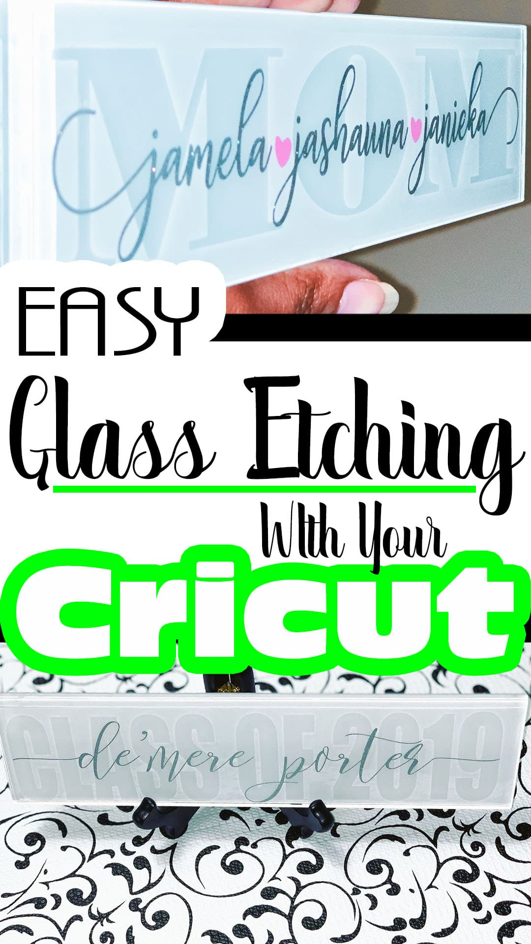Learn how to etch glass for beautiful gifts and home decor projects. Find out how your Cricut to create stencils for glass etching. #cricutmade #cricutprojects #cricutexplore #cricut