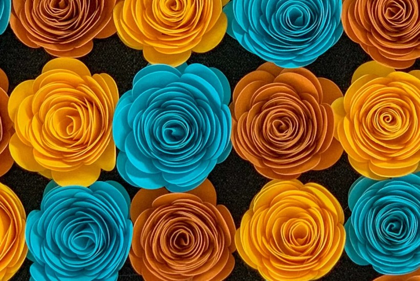 yellow orange and teal paper roses