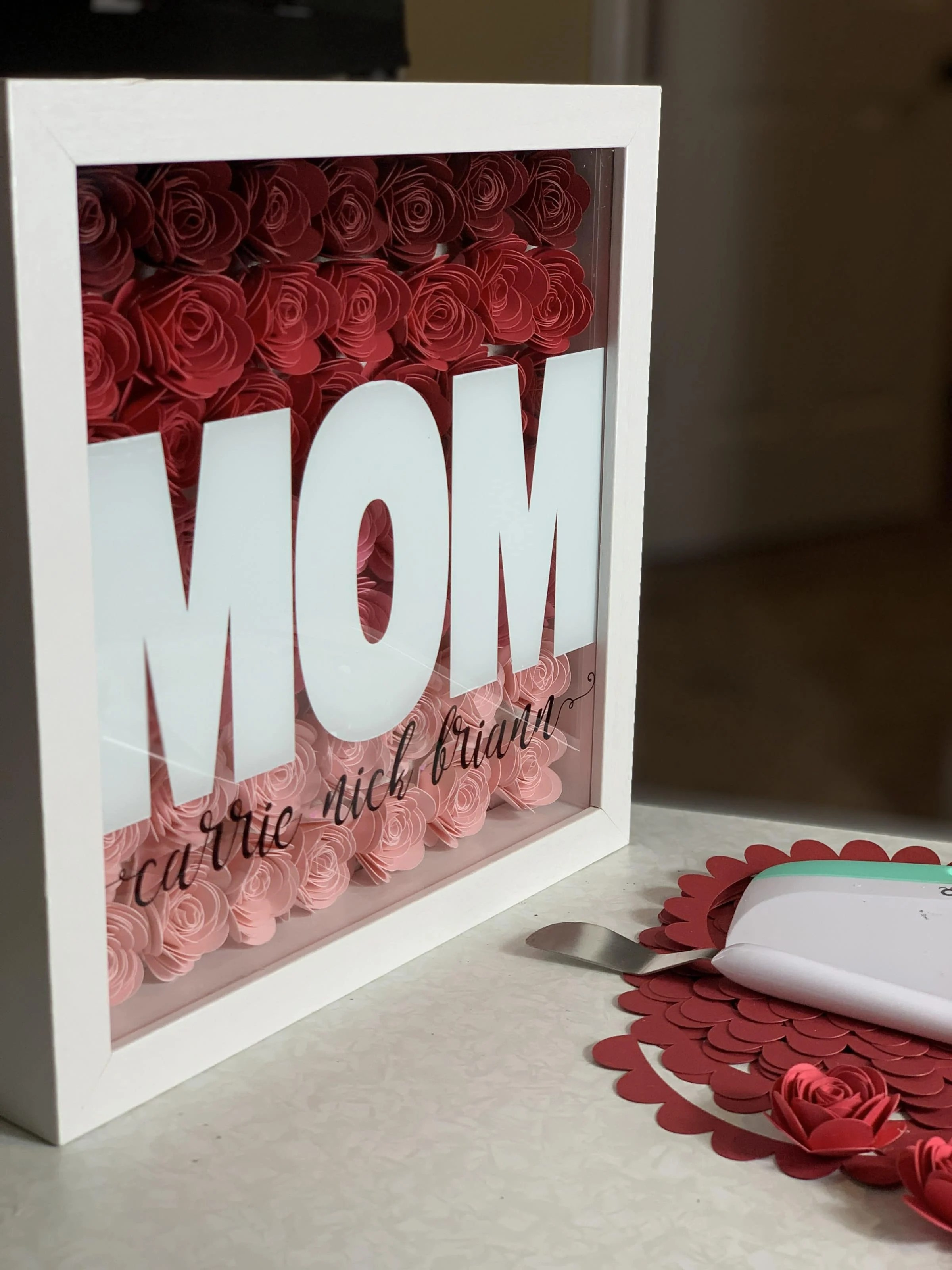 How To Make An Ombre Paper Flower Shadowbox By Pink