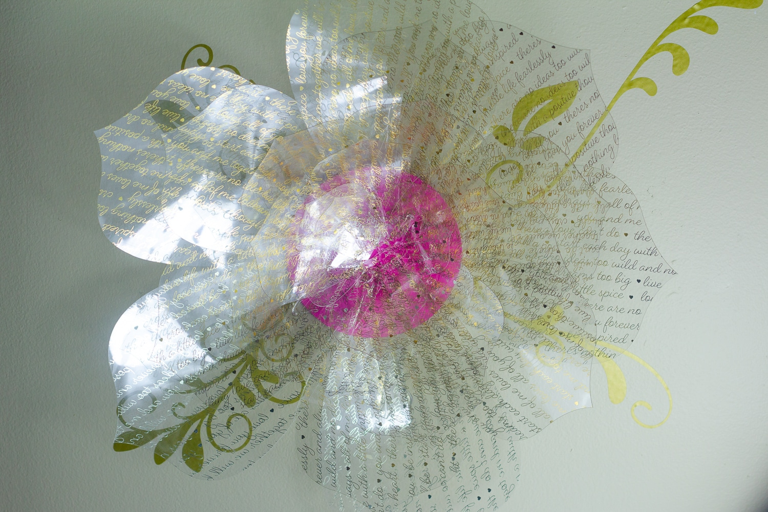 Close-up of an acetate rose on a wall hanging