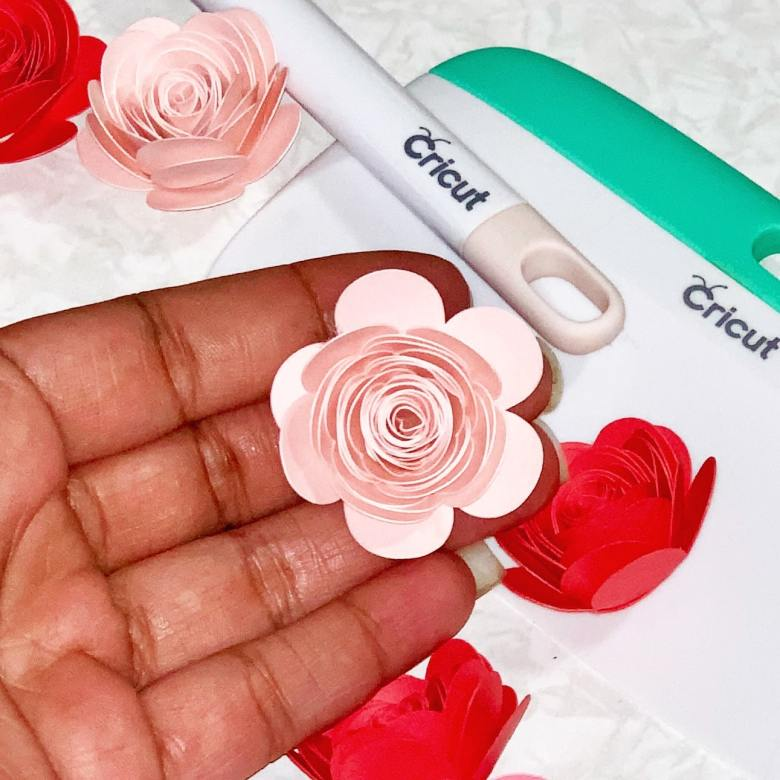 pink paper rose made from rose template