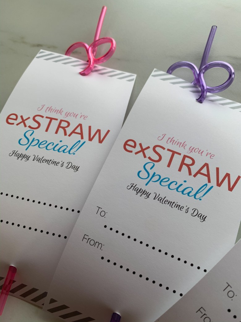 print then cut paper valentines with silly straws