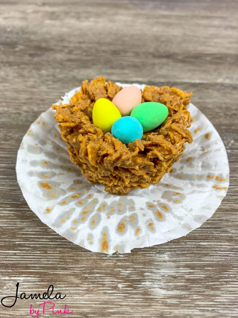 sideview of edible birds nest, easter dessert recipe