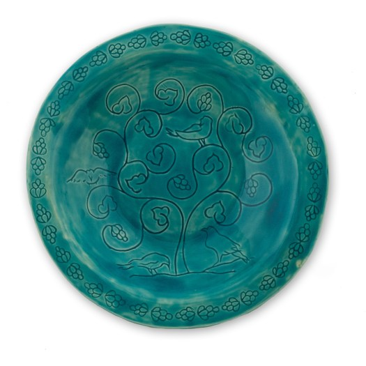 Persian style handmade ceramic plate with Tower of London Ravens design