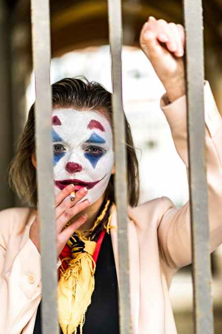 woman with joker face paint