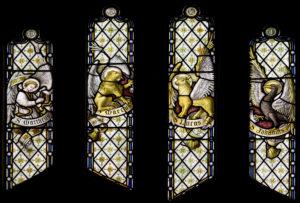 Die vier evangeliste verteenwoordig met vier simbole: Matteus, 'n gevleuelde mens, Markus, 'n gevleuelde leeu, Lukas, 'n gevleuelde bul, en Johannes, 'n arend