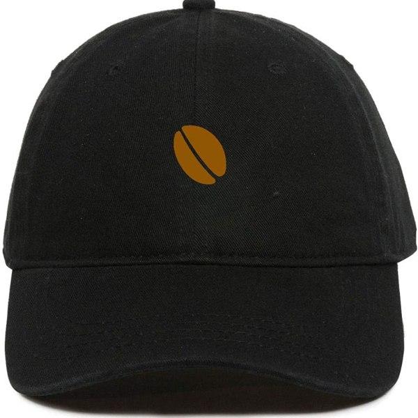 Coffee Bean Baseball Cap Embroidered Dad Hat Cotton Adjustable Black
