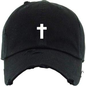 Cross Vintage Dad Hat Baseball Cap Embroidered Cotton Adjustable Distressed