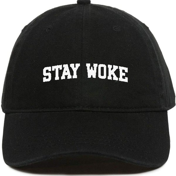 Stay Woke Baseball Cap Embroidered Dad Hat Cotton Adjustable Black