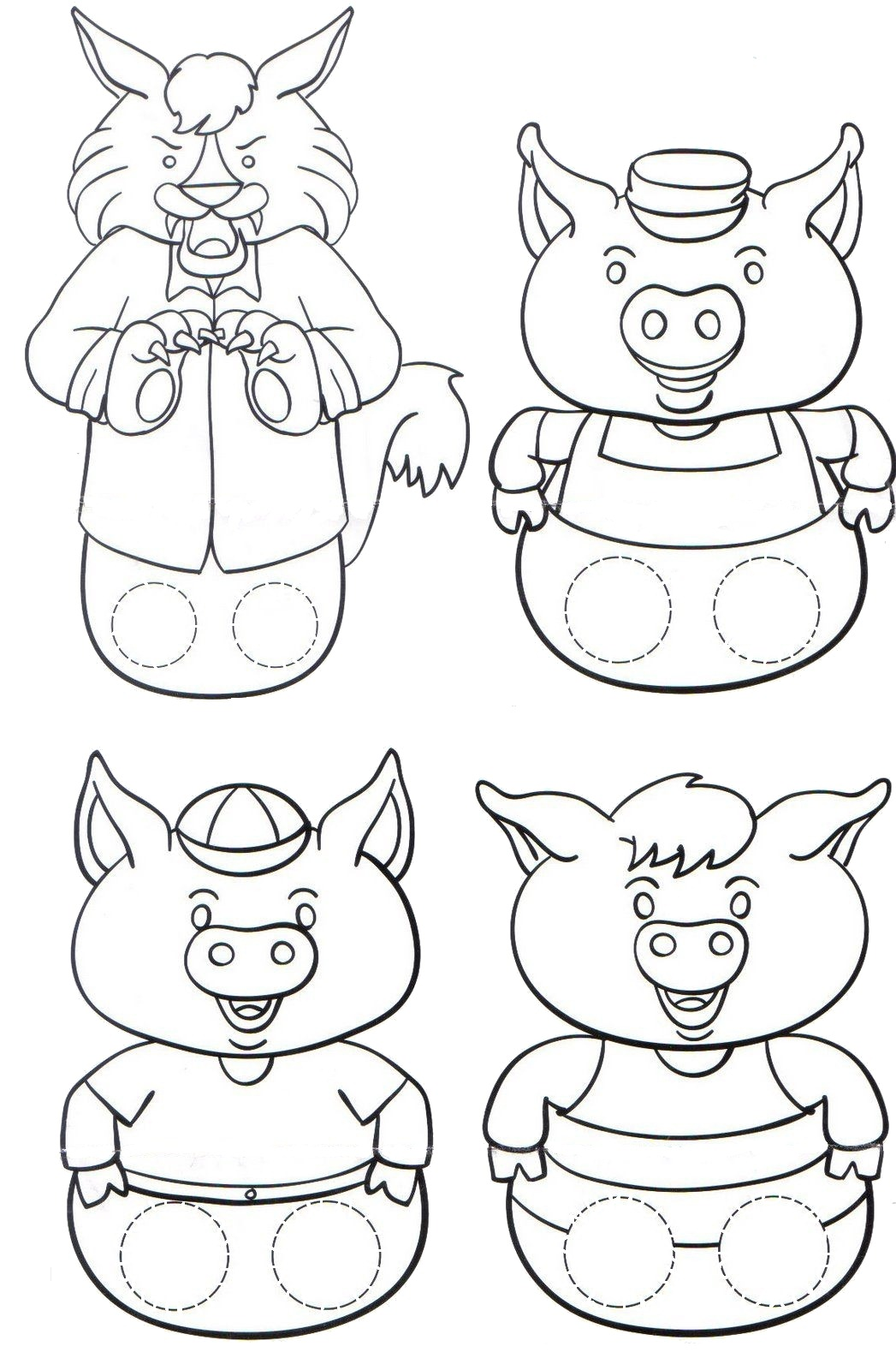 Free 3 little pigs masks coloring pages