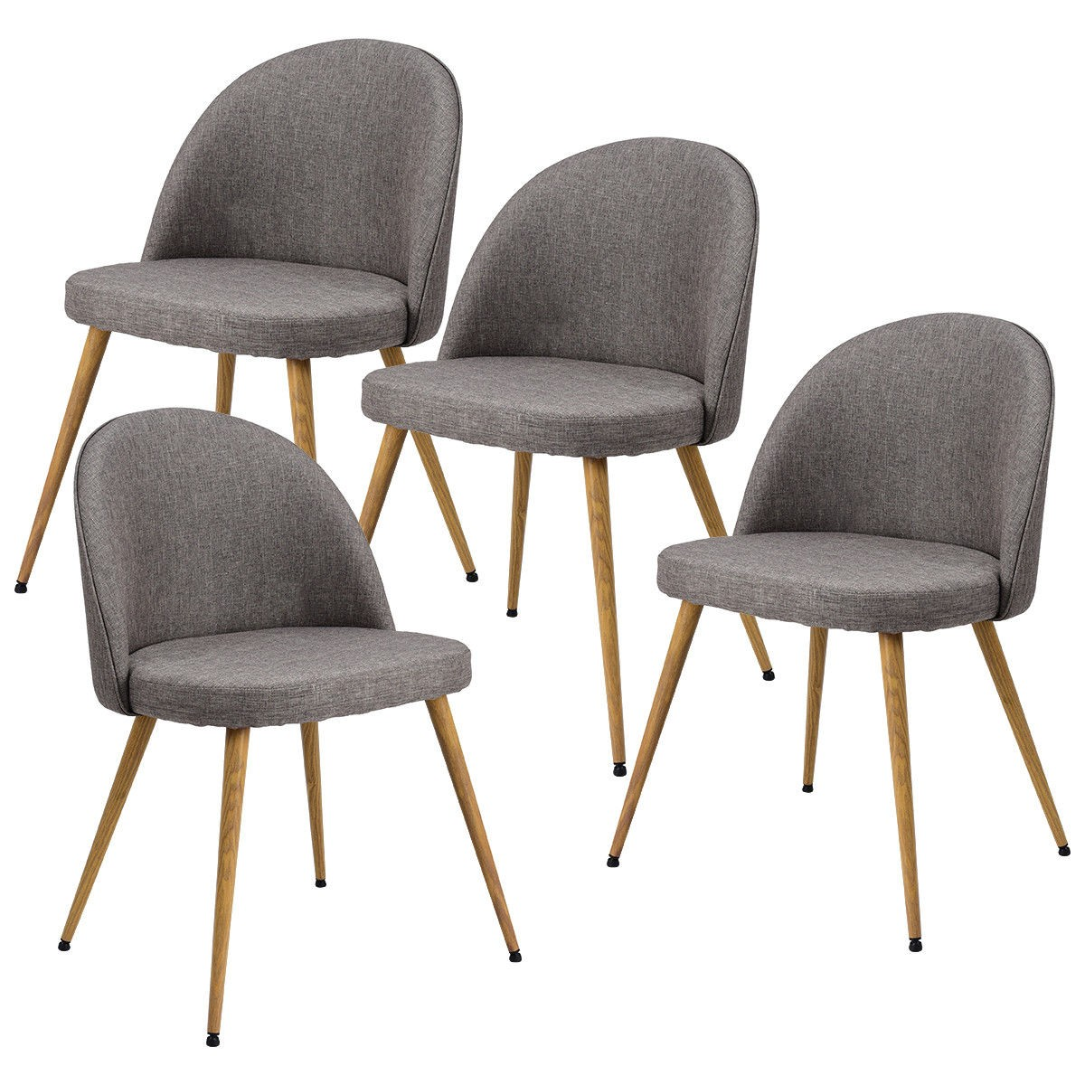 Accent Dining Chairs Set Of 4 Fabric Cushion Seat Accent Arm Dining Chairs By