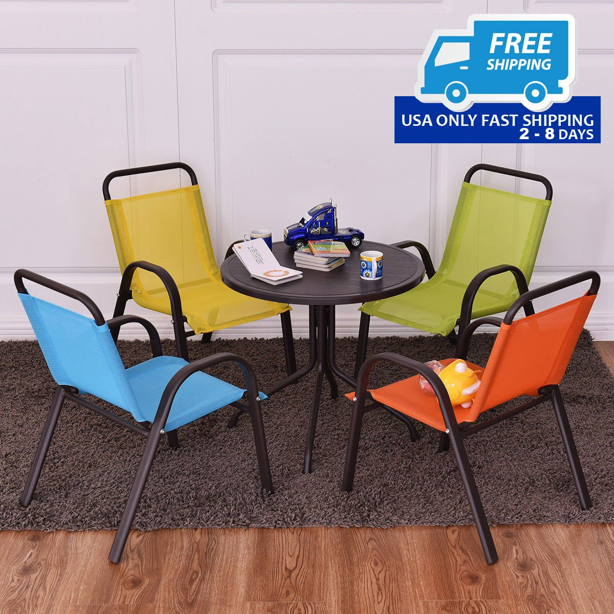 Kids Outdoor Table And Chairs Patio Indoor 5 Pcs Kids Dining Table And Chairs Play Set
