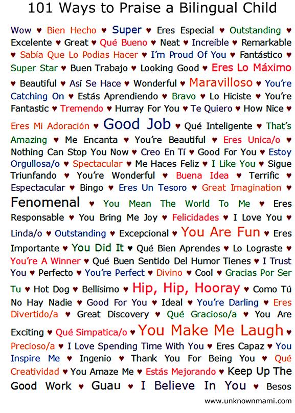 101 Ways to Praise a Bilingual Child