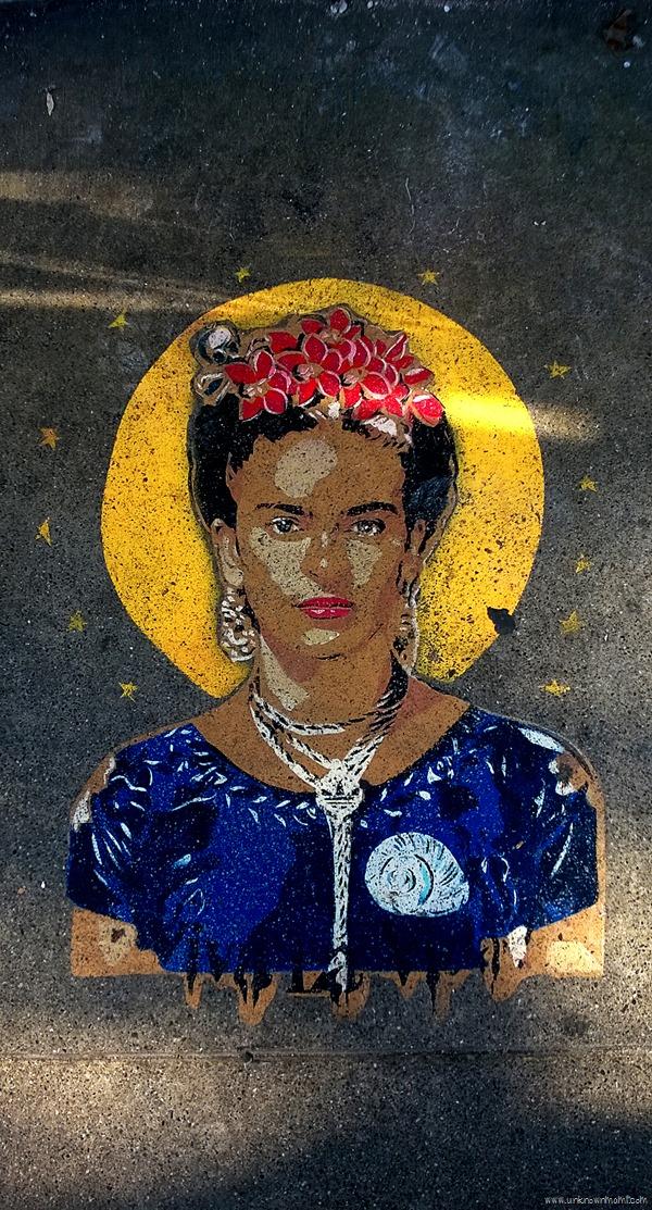 Frida Kahlo painted on the sidewalk