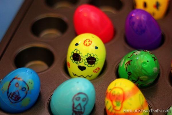 Skull candy holders from plastic Easter eggs