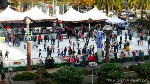 Ice skating in SF Union square