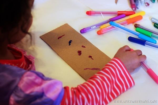 Kid making art