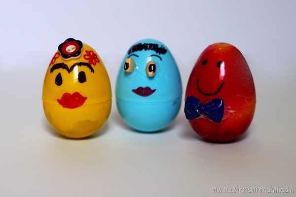 Wobble dolls made from plastic Easter eggs