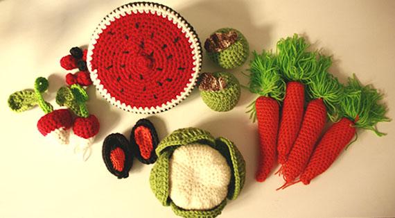 Luminaria, verduras realizadas en crochet | By Cousiñas