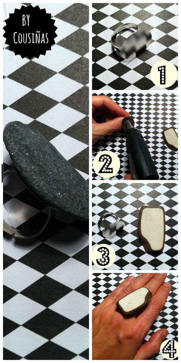 Secuencia paso a paso anillo piedras