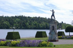 A bronze sculpture of Poseidon by Adrien de Vries on the Drottiningholm Palace grounds facing Lake Malar. By C.S. White