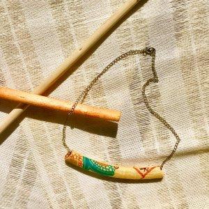 Handmade Ankara bar tube necklace from Tribal Marks by 'Dami - warm