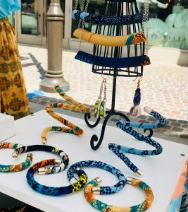 Handmade Ankara jewelry composition from Tribal Marks by 'Dami