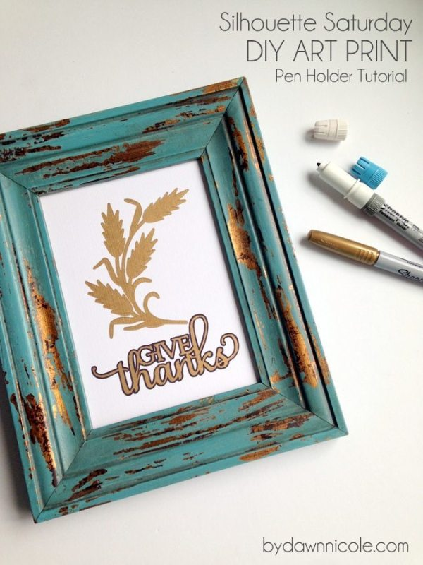 DIY Art Print-Silhouette Pen Holder Tutorial | bydawnnicole.com