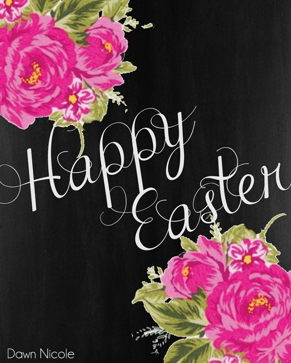 Free Print of the Week: Floral Chalkboard Easter Prints | bydawnnicole.com