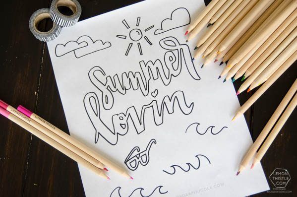 Such a fun printable coloring sheet for the summer time! I love the hand lettering