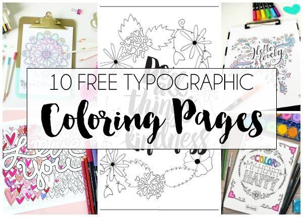 10+ FREE Typographic Coloring Pages| dawnnicoledesigns.com